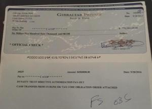 Another of Drew Donovan's many millions in fake checks