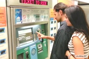 Riders buy tickets for the L.A. Metro Rail in the subway rail station
