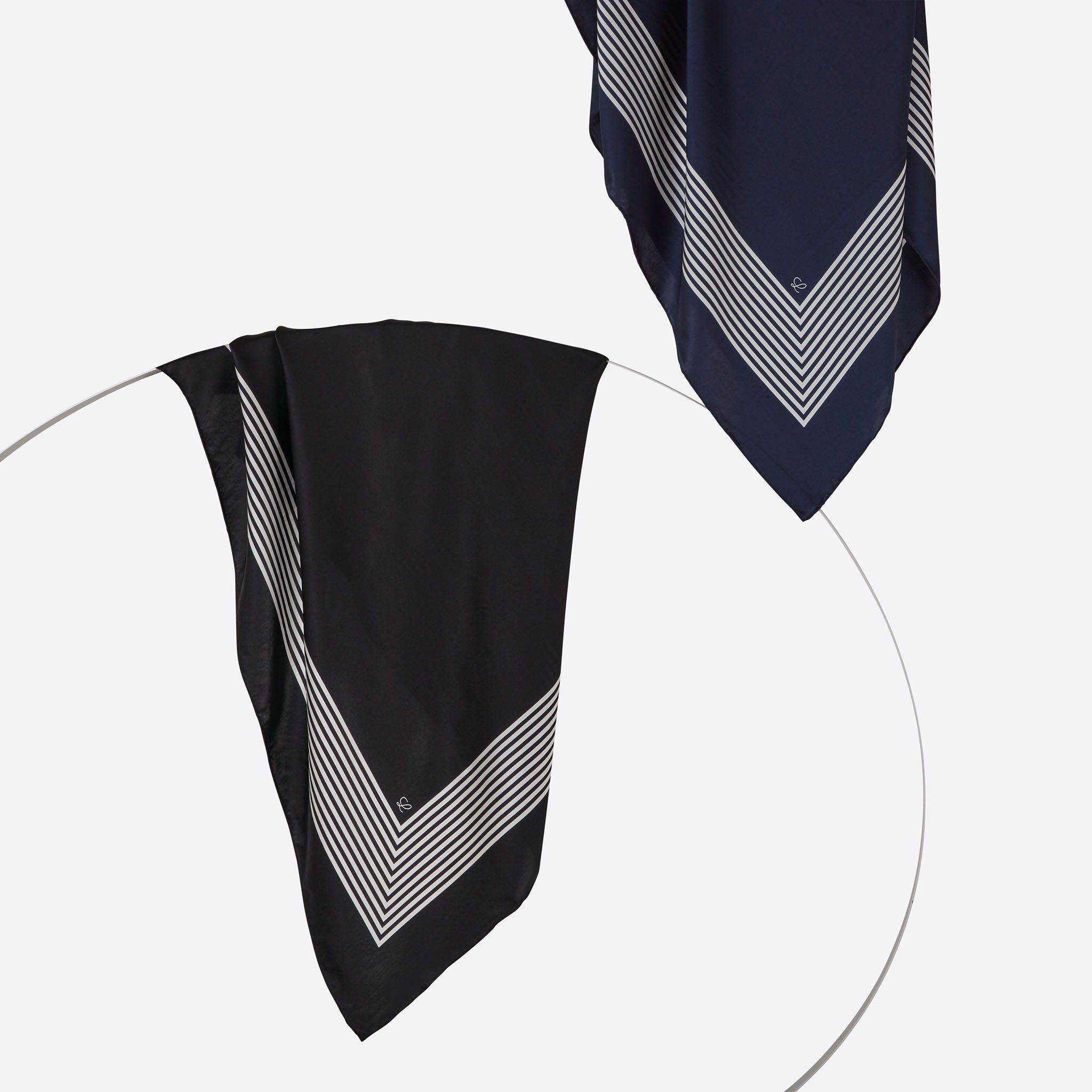 Lalouette black and navy striped square silk scarves