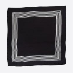 Lalouette black striped square silk scarf flatlay