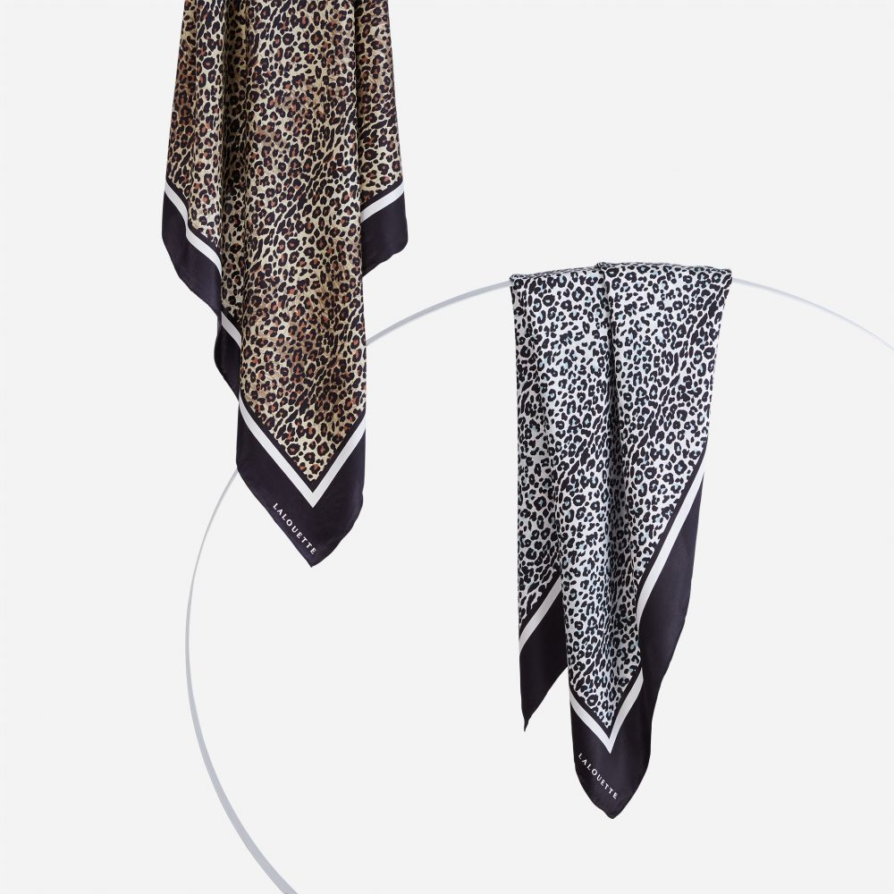 Lalouette leopard and snow leopard silk scarves