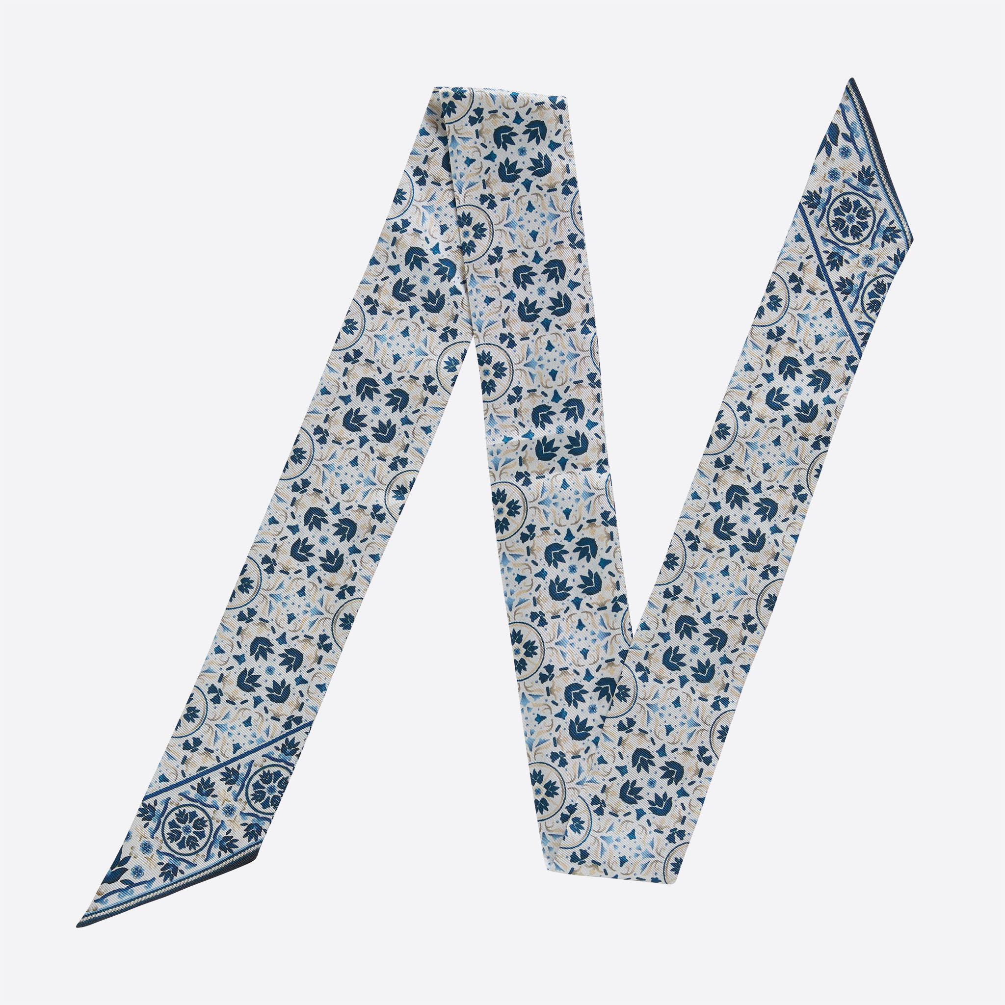 Lalouette Moroccan print skinny silk scarf flatlay