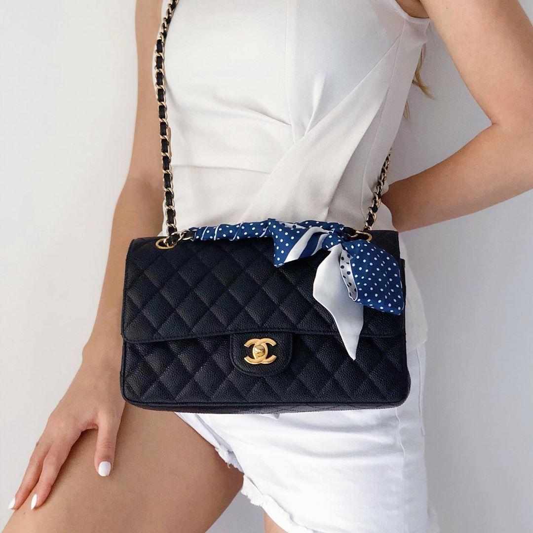 Lalouette Navy Polka Dot Skinny Silk Scarf Bow on Handbag