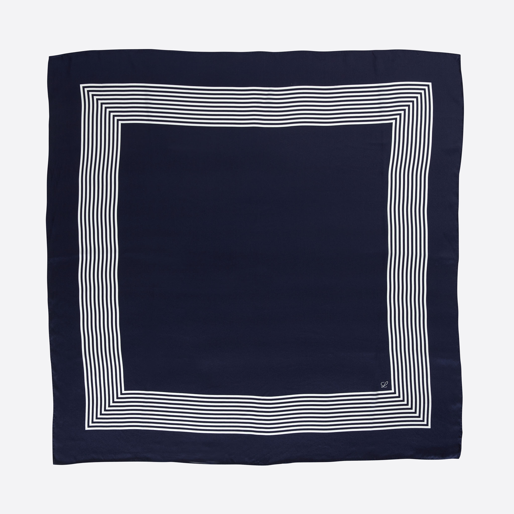 Lalouette navy striped square silk scarf flatlay