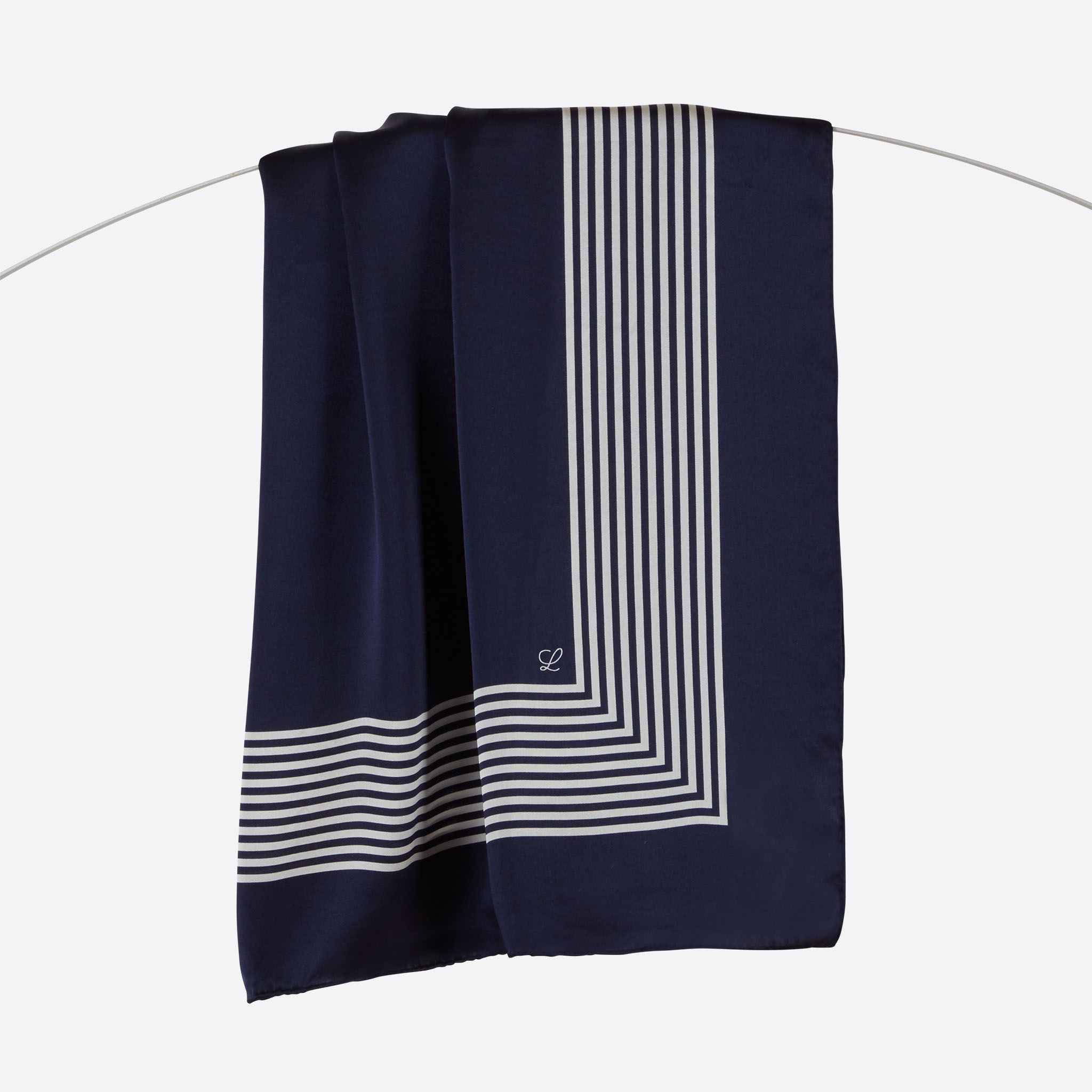 Lalouette navy striped square silk scarf hanging