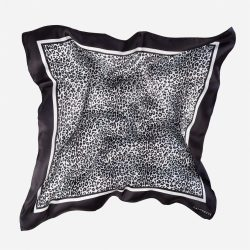 Lalouette snow leopard silk scarf in air