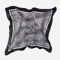 Lalouette snow leopard silk scarf in air