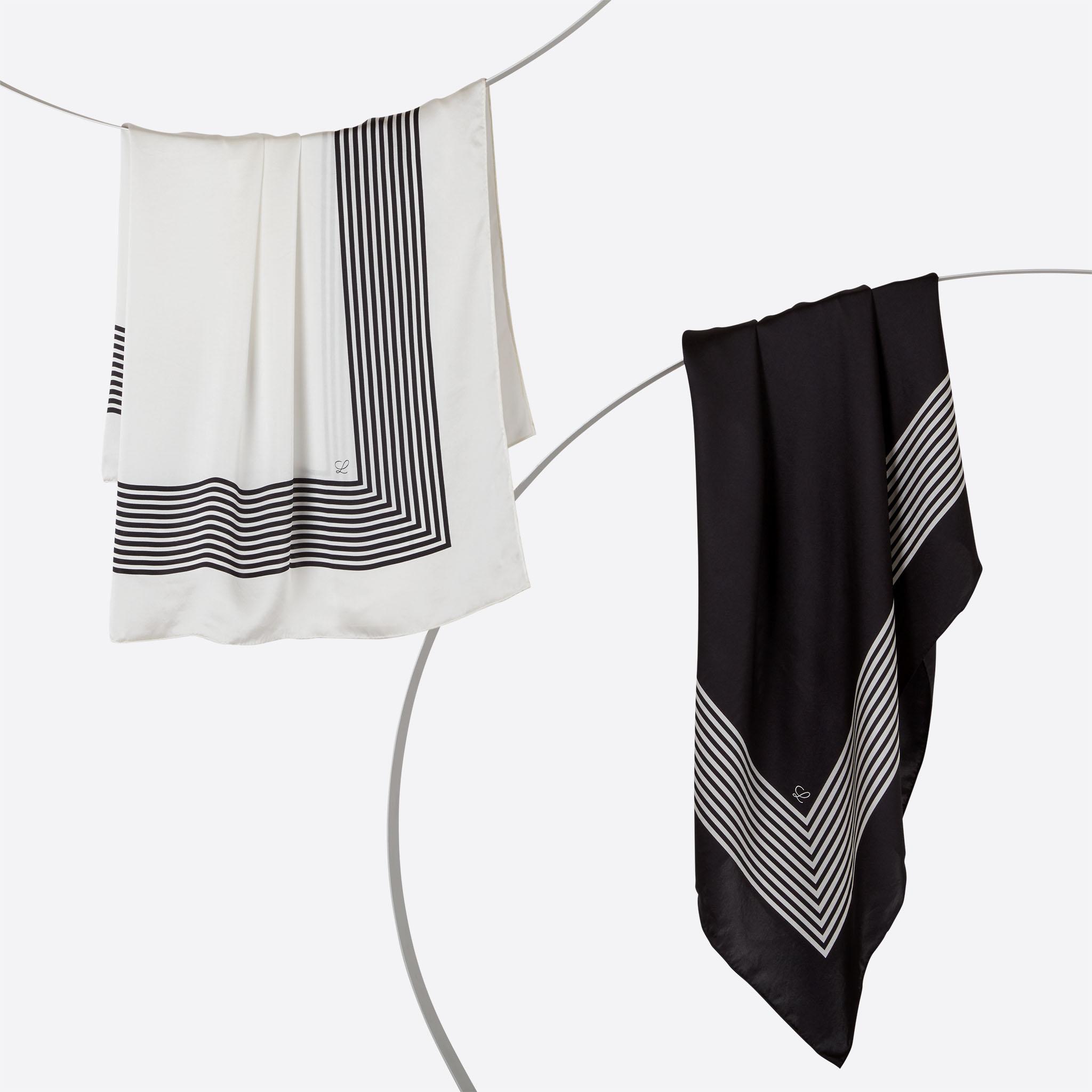 Lalouette white and black striped square silk scarves