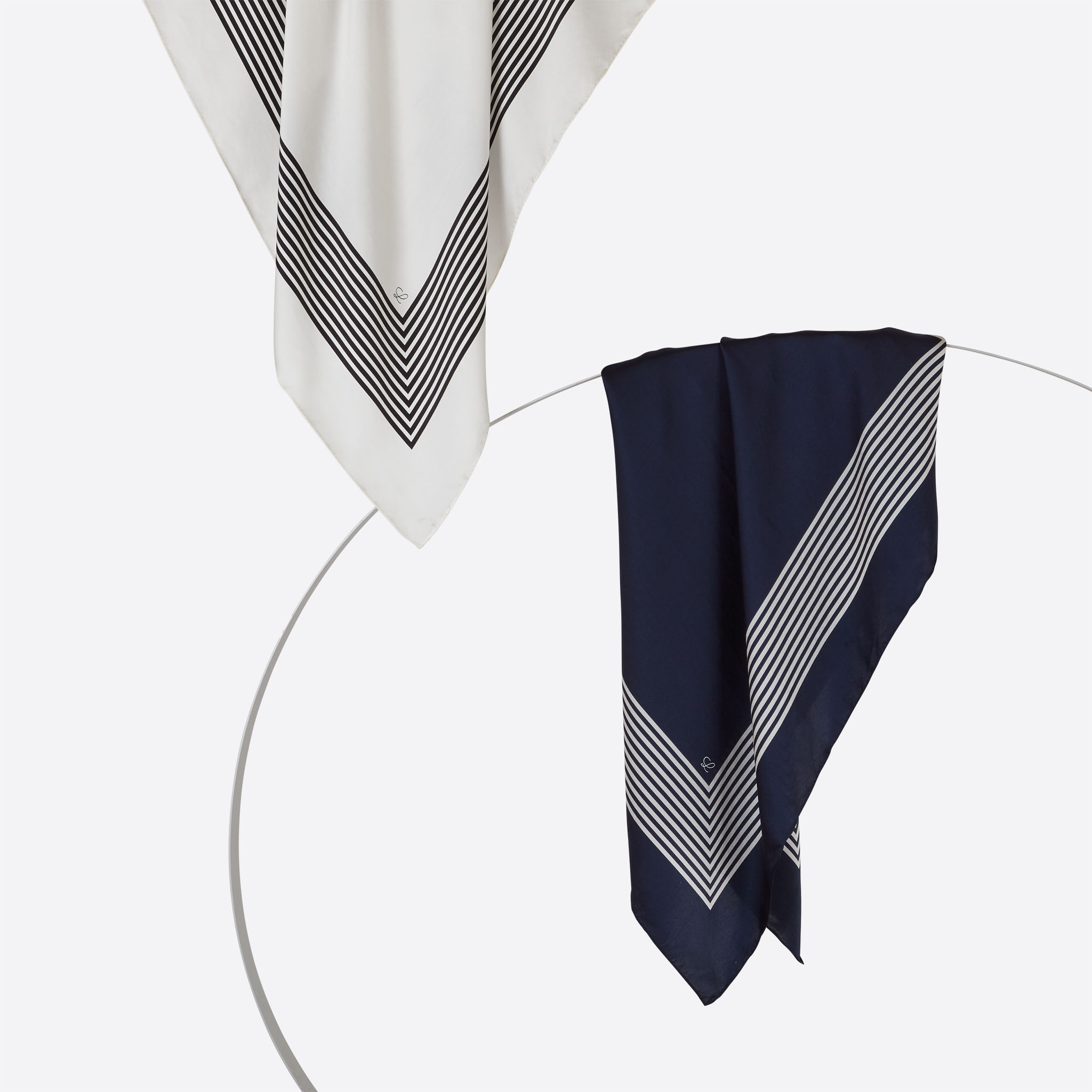 Lalouette white and navy striped square silk scarves styled