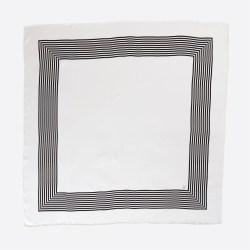 Lalouette white striped square silk scarf flatlay