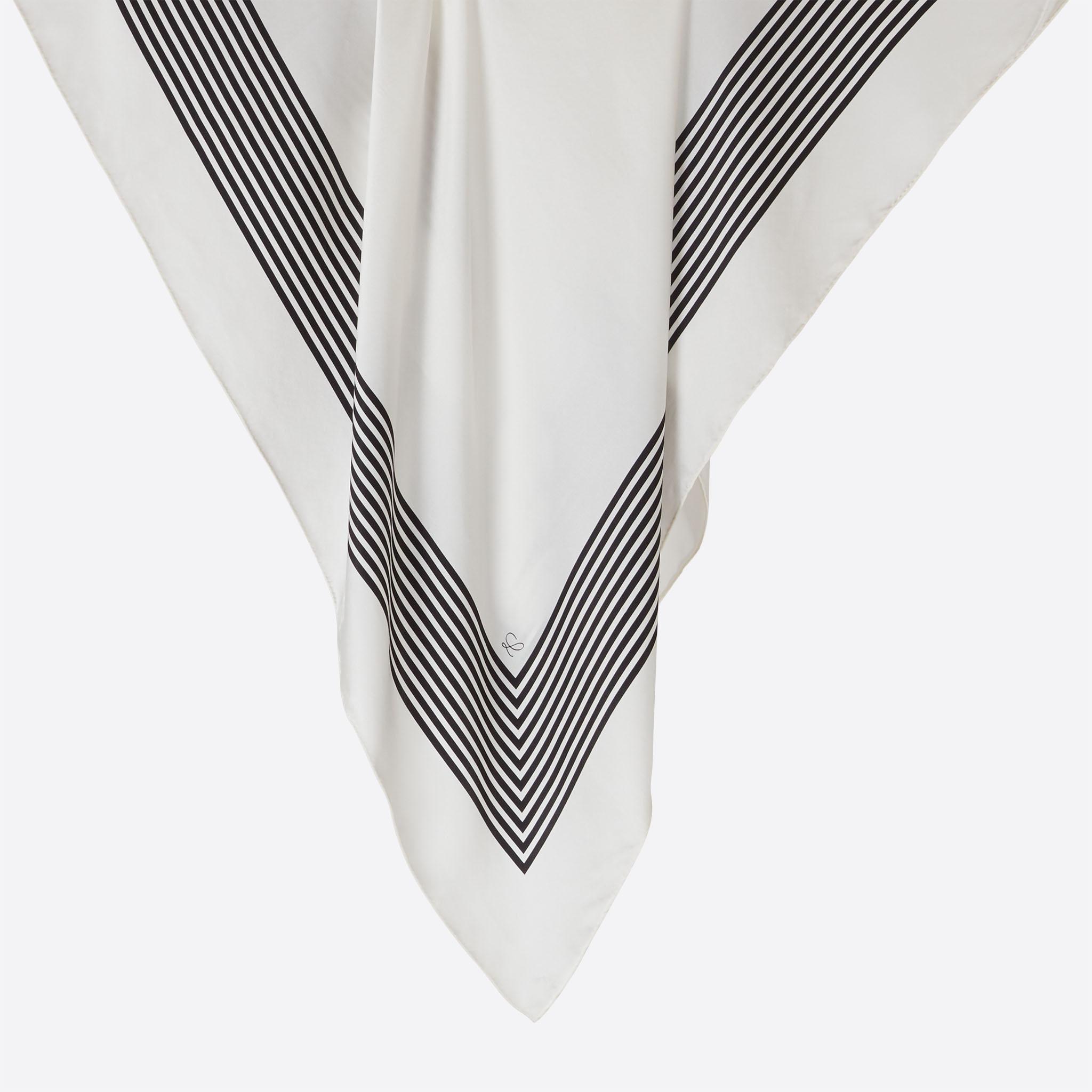Lalouette white striped square silk scarf hanging