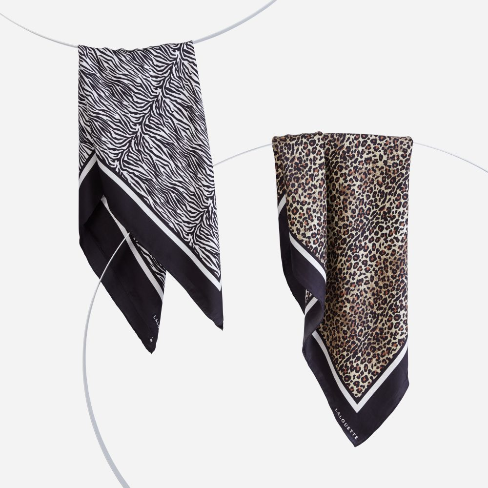 Lalouette zebra and leopard silk scarves