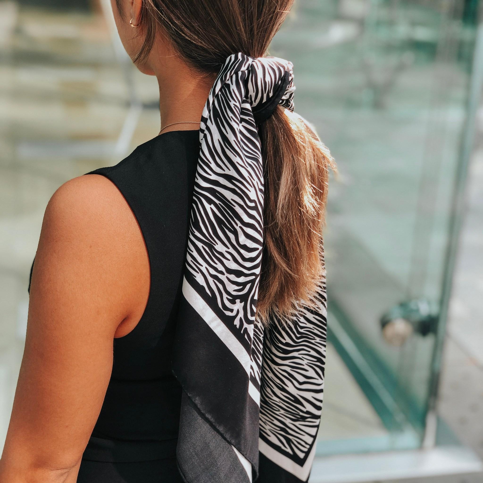 Lalouette Zebra Print Square Silk Hair Scarf