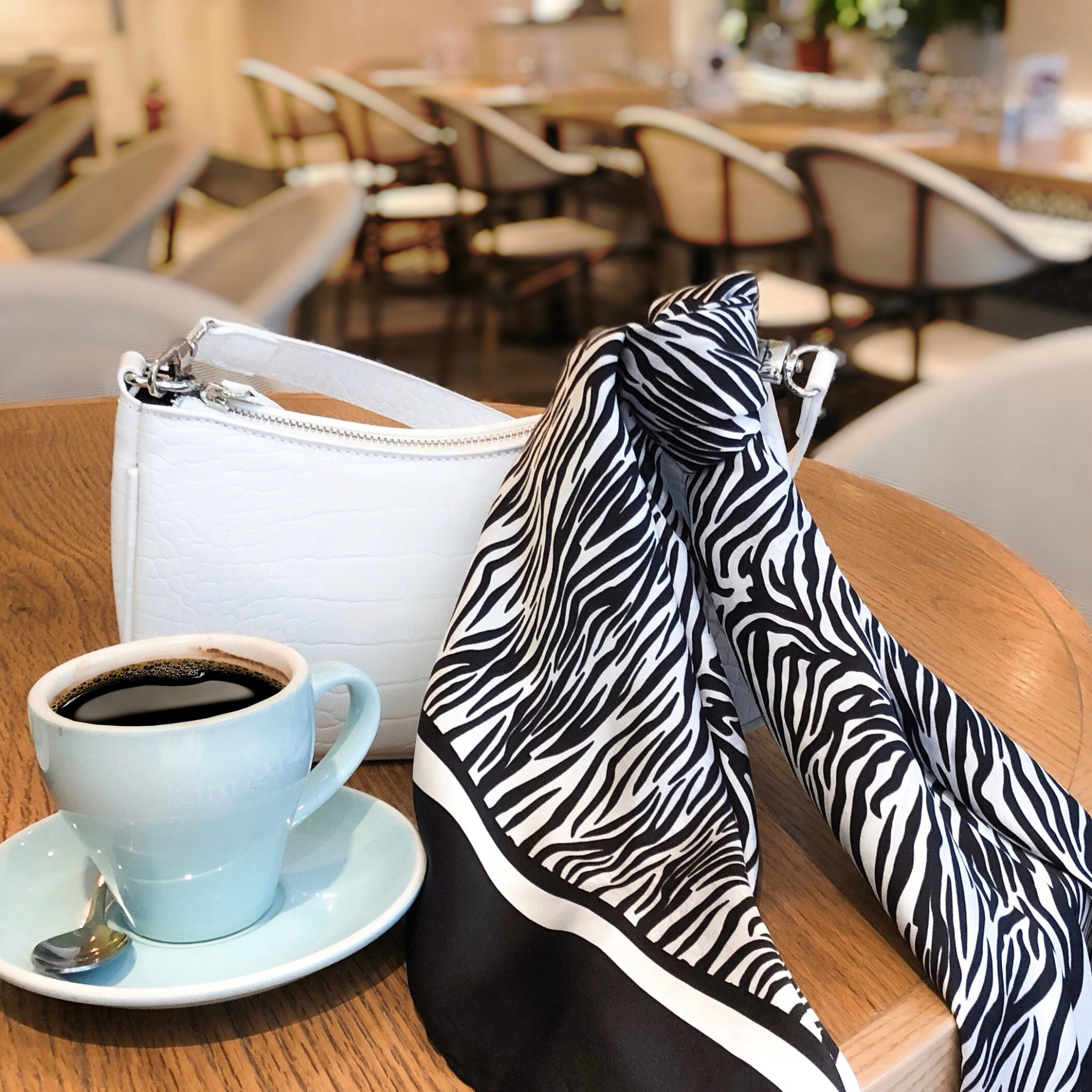 Lalouette Zebra Print Square Silk Scarf on Handbag