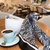 Lalouette Zebra Print Square Silk Scarf on Handbag