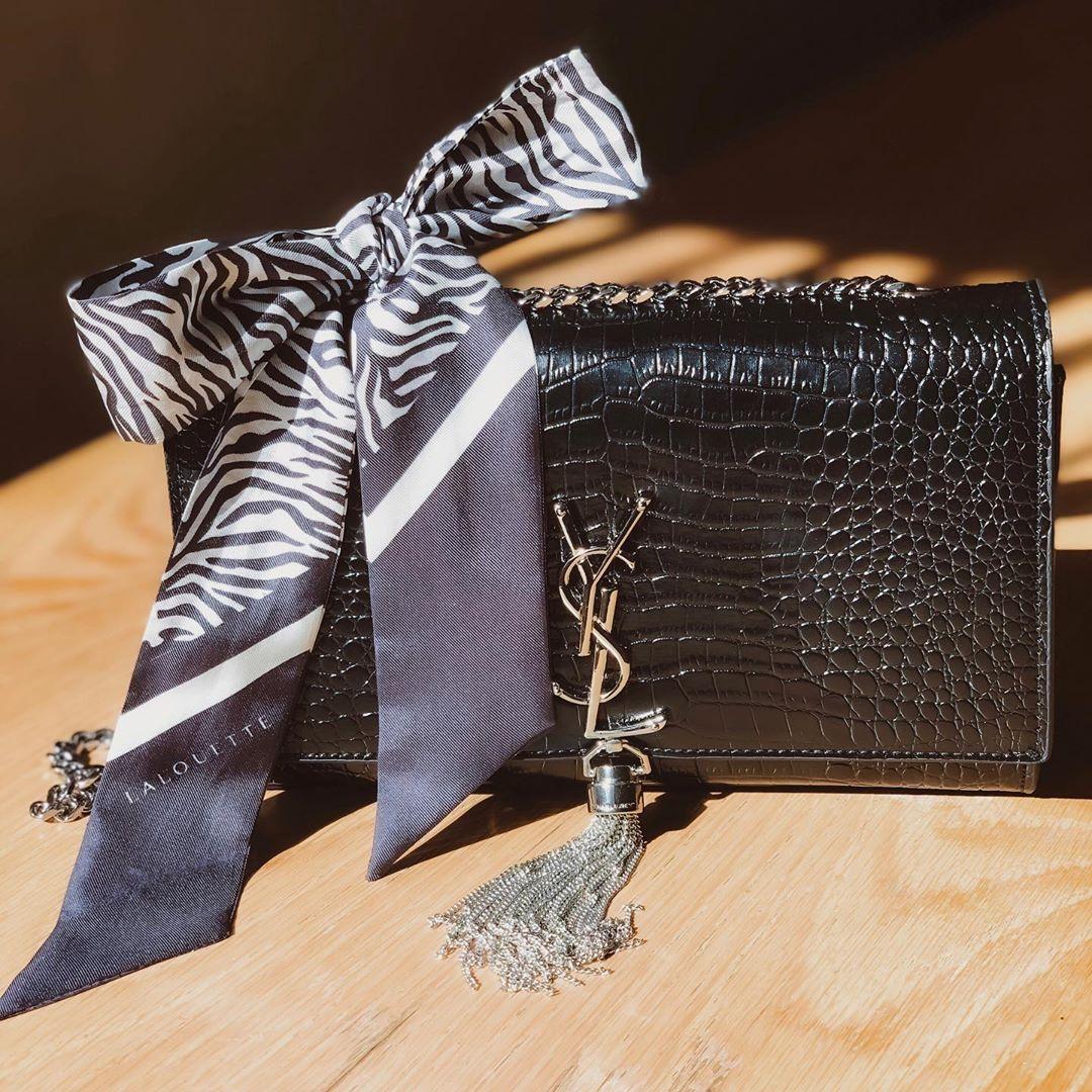 Lalouette Zebra Print Skinny Silk Scarf Bow on Handbag