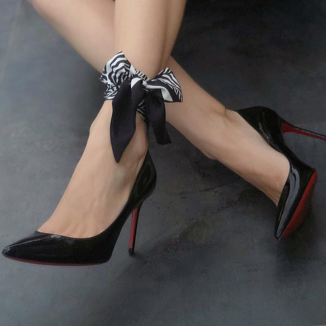 Lalouette Zebra Print Skinny Silk Scarf Bow on Ankle