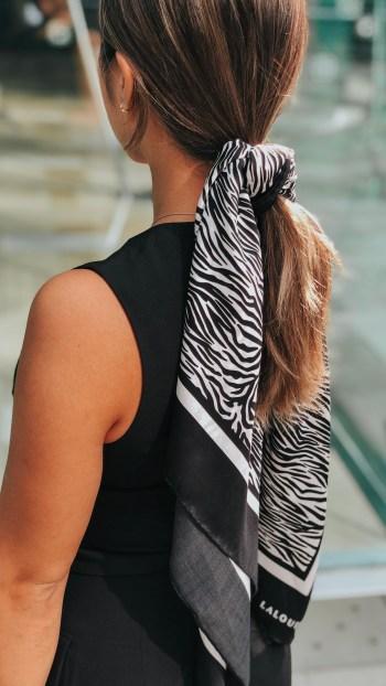 Lalouette Zebra Silk Scarf in Hair