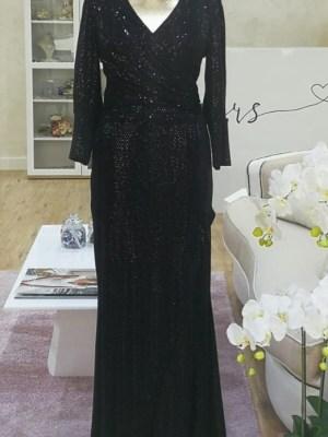 Ženska svečana haljina crna dugi rukav šljokice