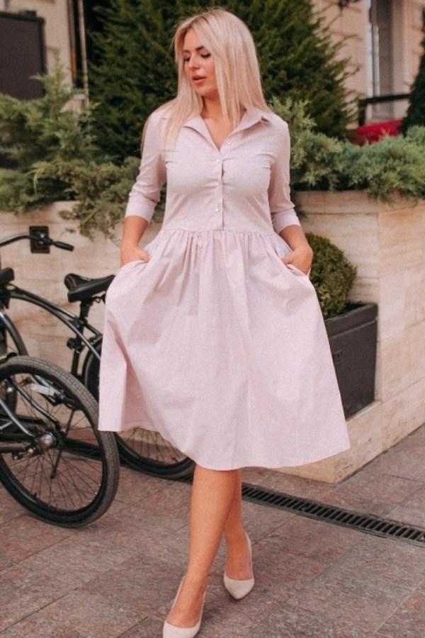 Модное платье-рубашка AV-1150A15B16