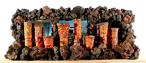 "Ceramic, Custom Glaze, Real Lava Rock Lava Glazed mugs are limited to 25 Edition Lava mugs can be commissioned individually 'made to order' at the following prices Tiki #1 - ""Hiskey Tiki"" Tiki #2 $200 ""Hiskey Tiki"" Tiki #3 - ""King Tiki"" Tiki #11 - ""Tiki Lantern"" Tiki #12 - ""Hula Lover"" Tiki #13 - ""Keeper of the Charm"" Tiki #18 - ""Hibiscus Tiki"" Tiki #80 - ""Lucky Tiki"""