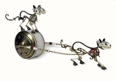 """Antique brass hardware & findings, painted wood, brass, silver, bone, beads, chain, glove leather, glass eyes. 18"""" x 11"""" x 36"""" $14,000.00"""