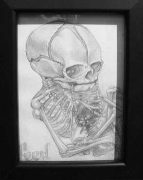 """Graphite on paper 3.5"""" x 5"""" in 7.5"""" x 9.5"""" frame $180.00 Sold"""