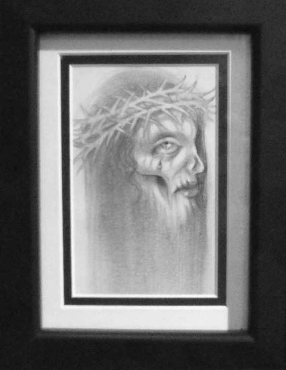 """Graphite on paper 3.5"""" x 5"""" in 7.5"""" x 9.5"""" frame $180.00"""