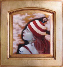 """Oil on gold-leafed panel 9.5"""" x 10.25"""" $1,000.00"""