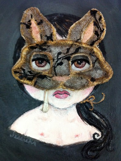 "Acrylic, stained burlap, lace, gold & peach embroidery thread on paper 5"" x 7"" $400.00 Sold"
