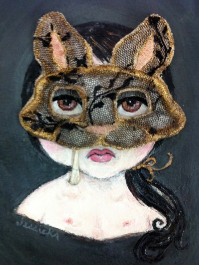 """Acrylic, stained burlap, lace, gold & peach embroidery thread on paper 5"""" x 7"""" $400.00 Sold"""