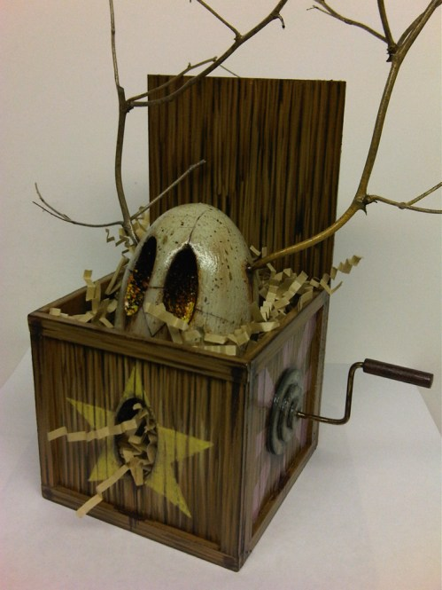 "Acrylic painted balso woodbox and wood egg 6"" x 8"" x 6"" $850.00"