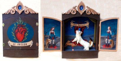 "Ermine mount, acrylic on mahogany, felt, ornament 24"" x 22"" x 5"" $500.00 Sold"