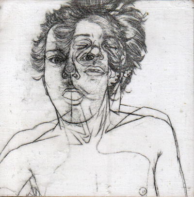 """Sealed pencil drawing on wood panel 3"""" x 3"""" $150.00 Sold"""