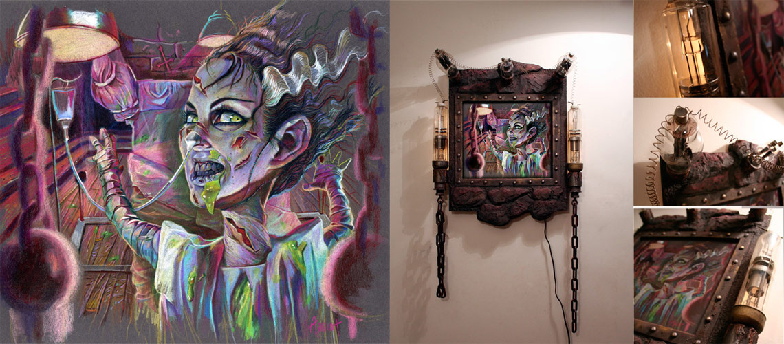 """Prismacolorpencils on toned Archival Illustration board Custom frame: Sculpted resin foam, antiquevacuum tubes 13"""" x 11"""" in 21"""" x 23"""" frame $750.00"""
