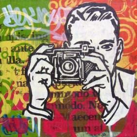"Acrylic and mixed-media on canvas 12"" x 12"" $250.00"