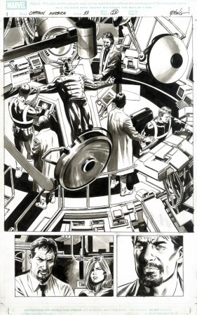 """Issue #33, page 23: Origin of Bucky as New Cap (Detail -click image for full view) Graphite and ink on board 11"""" x 17"""" $1,000.00"""