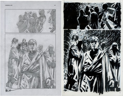 """Issue #500, Page 40: Murdock Leads the Hand (Detail -click image for full view) Graphite on paper and ink on board 11"""" x 17"""" (x 2) $850.00"""