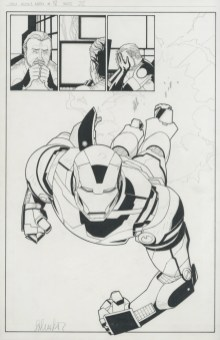 """Issue #18, Page 22: Splash First Appearance of The Iron Patriot Graphite and ink on board 11"""" x 17"""" $1,200.00"""