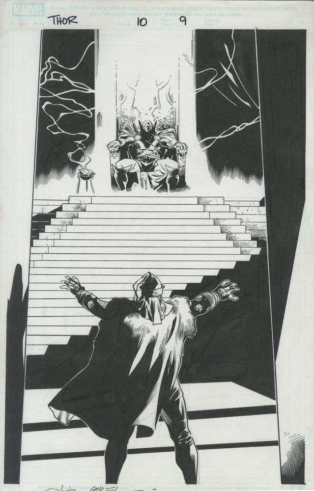 """Issue #10, Page 9: Splash Page Balder Confronts Thor in the Throne Room Graphite and ink on board 11"""" x 17"""" $1,500.00"""