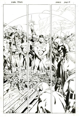 "Issue #2, Page 12: Martian Manhunter's Funeral Entire DC Universe on one Splash Page Graphite and ink on board 11"" x 17"" $1,800.00"
