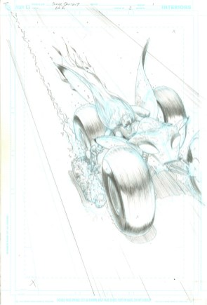 """Issue #3, Page 1: Batman Action Vehicle Splash Page Graphite on board 11"""" x 17"""" $3,000.00"""