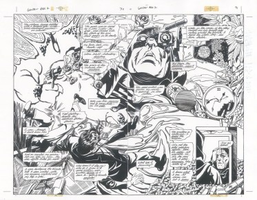 """ssue #2, Pages 30 & 31: Hourman's Addiction Graphite and ink on board 22"""" x 17"""" Sold"""