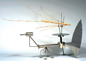 "Stainless steel and bamboo 48"" x 13"" x 45"" $15,000.00"