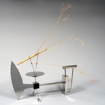 "Stainless steel and bamboo 48"" x 12"" x 45"" $15,000.00"