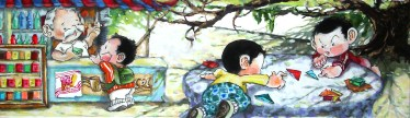 """Gouache and ink on watercolor paper 11.5"""" x 3.5"""" in 14.5"""" x 6.5"""" frame $500.00"""