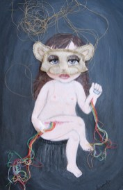 """Acrylic, linen, embroidery thread, on paper 12"""" x 18"""" $1,000.00 Sold"""