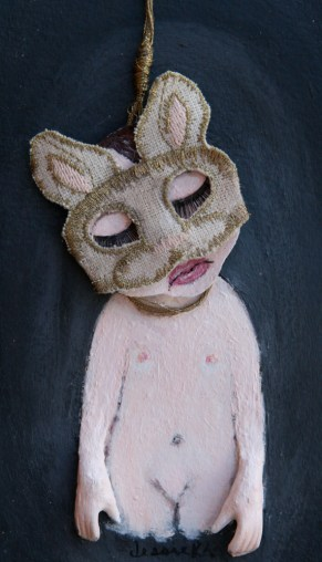 """Acrylic, linen, embroidery thread, on paper 5"""" x 7"""" $550.00"""