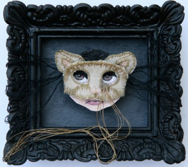 """Acrylic, linen, embroidery thread, on paper 3"""" x 2.5"""" $350.00 Sold"""