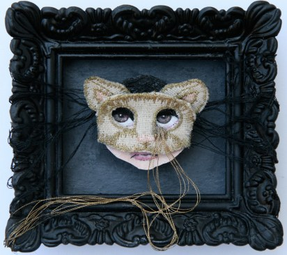 "Acrylic, linen, embroidery thread, on paper 3"" x 2.5"" $350.00 Sold"